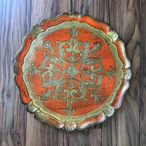 Vintage Italian Carved Wood Scalloped Round Tray